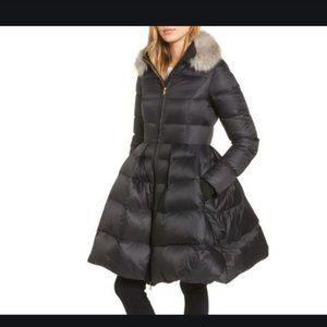 kate spade black puffer skirted coat xs nwot